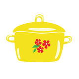 Yellow enamel pot with floral patterns. Vector cartoon. Stock Photo