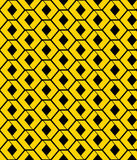 Yellow endless vector texture with green geometric figures and s. Tylized honeycombs, motif abstract contemporary geometric background. Creative artificial Stock Image