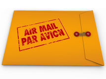 Yellow Envelope Airmail Stamp Par Avion Express Delivery. A yellow envelope stamed Air Mail Par Avion for express airmail delivery of an important message or Stock Image