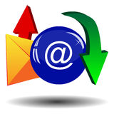 Envelope, arrows and blue ball Royalty Free Stock Images