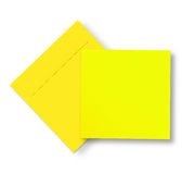 Yellow envelope and card on white Stock Photography