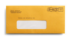 Yellow Envelope. Postage Paid Yellow Envelope with Copy Space Isolated on a White Background Stock Photo