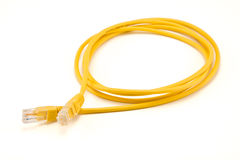 Yellow ethernet cable. Isolated on white royalty free stock image