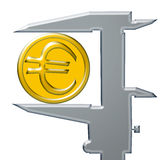 Yellow Euro coin and caliber . Yellow Euro coin and steel caliber stock illustration