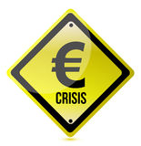 Yellow euro crisis sign illustration design. On white Stock Images