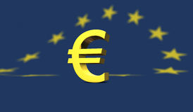 Yellow euro sign with european flag in the background Royalty Free Stock Photo