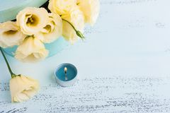 Yellow eustoma flowers. On blue table. Greeting card for Birthday, Womens or Mothers Day Royalty Free Stock Photos