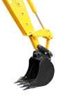 Yellow excavator. Spade of yellow excavator, isolated on white Royalty Free Stock Images