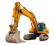 Yellow Excavator. Isolated over white Royalty Free Stock Photo