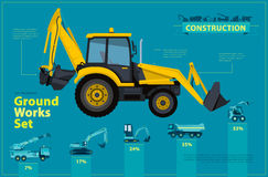 Yellow excavator. Blue infographic set, ground works blue machines vehicles. Stock Photos