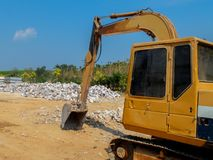Yellow Excavator in Construction Site Royalty Free Stock Photos