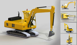 Yellow excavator. 3d model of construction machine Royalty Free Stock Image