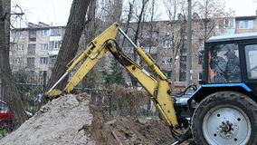 Yellow excavator grab the ground, Stock Photos