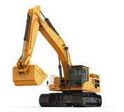 Yellow Excavator Hero View. Stock Photo