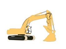 Yellow excavator illustration Stock Photography