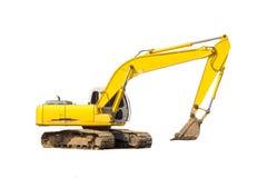 Yellow excavator isolated. Excavator isolated on white background Stock Photography