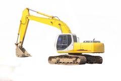 Yellow excavator isolated. Excavator isolated on white background Royalty Free Stock Photography