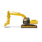 Yellow Excavator Isolated Royalty Free Stock Images