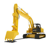 Yellow Excavator Isolated Stock Photography