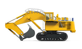 Yellow Excavator Isolated. On white background. 3D render Royalty Free Stock Photo