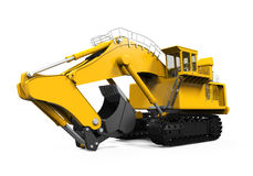 Yellow Excavator Isolated. On white background. 3D render Stock Photos