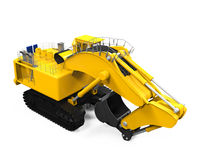 Yellow Excavator Isolated Stock Photo