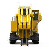 Yellow Excavator Isolated. On white background. 3D render Stock Images
