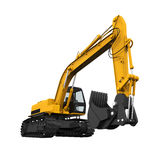 Yellow Excavator Isolated Royalty Free Stock Image