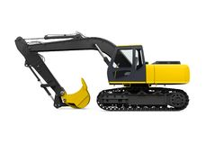 Yellow Excavator Isolated. On white background. 3D render Royalty Free Stock Photos