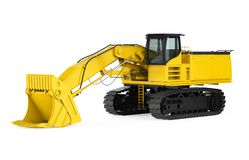Yellow Excavator Isolated. On white background. 3D render Royalty Free Stock Images