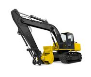 Yellow Excavator Isolated. On white background. 3D render Stock Photography