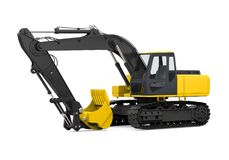 Yellow Excavator Isolated. On white background. 3D render Stock Image