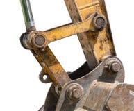 Yellow excavator machines. Part of modern yellow excavator machines isolated on white Stock Photography