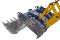 Yellow excavator machines. Part of modern yellow excavator machines isolated on white Royalty Free Stock Photography