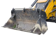 Yellow excavator machines. Part of modern yellow excavator machines isolated on white Royalty Free Stock Images
