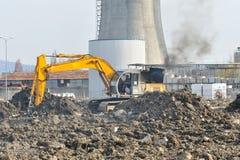 Yellow excavator on site Stock Image