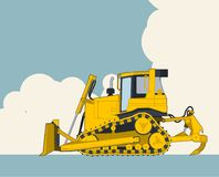 Yellow excavator, sky with clouds in background. Banner layout with earth mover. Big yellow excavator, sky with clouds in background. Banner layout with earth Stock Photos