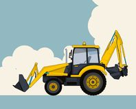 Yellow excavator, sky with clouds in background. Banner layout with earth mover. Big yellow excavator, sky with clouds in background. Banner layout with earth Royalty Free Stock Photography