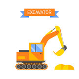 Yellow excavator special machinery vehicle loader bulldozer flat vector illustration. Royalty Free Stock Photos