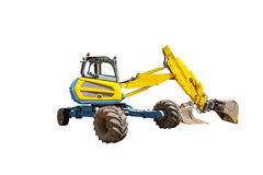 Yellow excavator on the white background. One yellow excavator on the white background Stock Image