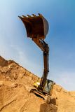 Yellow Excavator Work  extreme wide-angle Royalty Free Stock Photography