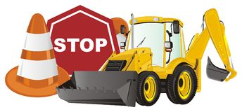 Excavator and large road signs. Yellow excavator wth large red and orange road warning signs Royalty Free Stock Photography