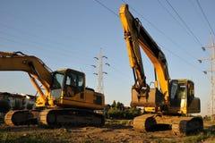 Yellow excavators  Royalty Free Stock Image