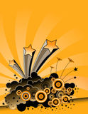 Yellow Explosion Background. A yellow background with stars, butterflies and circles exploding out Stock Image