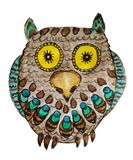 Yellow-eyed Owl with bright feathers vector illustration
