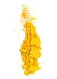 Yellow eyeshadow. Crushed sample isolated on white stock photos
