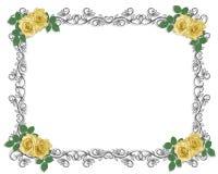 yellow för bröllop för kantinbjudan rose Royaltyfria Bilder