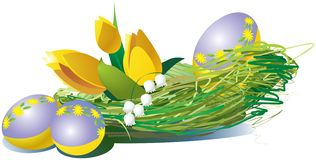 yellow för easter äggtulpan vektor illustrationer