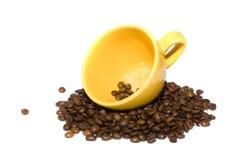 yellow för kaffekopp Arkivbild
