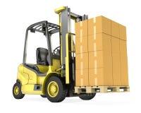 yellow för lastbil för gaffeltruckofboxesbunt Arkivfoton